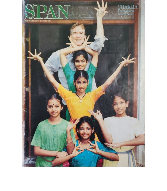 Front coverpage of SPAN Magazine(1991) of 5 Bharata Kalanjali girls with Jacques d'Amboise