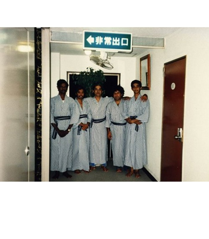 Left to right:Vedakrishnan (mridangam), Sunil Kumar (flute), VP Dhananjayan, Babu Parameswaran (vocal), CP Satyajit (dancer) in Japan - 1986