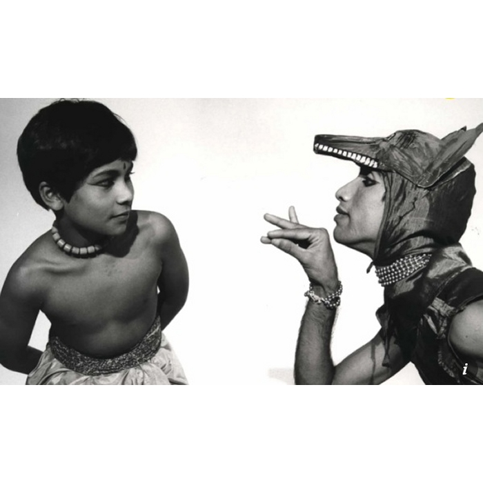 Dancer Akram Khan as a 9 year old boy (1984) in Bharata Kalanjali's first Mowgli-Jungle Book productionin London with mother wolf played by the Dhananjayans's student T. Unnikrishnan, now a big time Naatyam teacher in the UK and Middle East